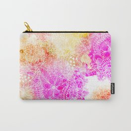 Pink orange botanical watercolor hand drawn floral pattern Carry-All Pouch