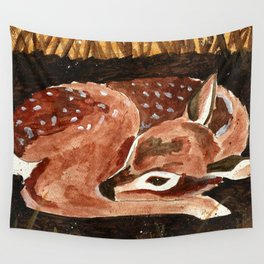 Before the First Snow (Fawn/ White tailed Deer) Wall Tapestry