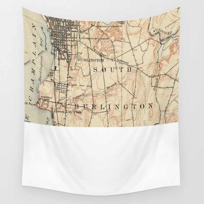Vintage Burlington Vermont Topographic Map (1904) Wall Tapestry by ...