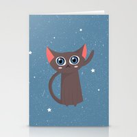 space cat Stationery Cards featuring Space cat by Alex Fabri