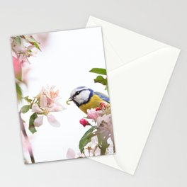 Little bird in beautiful flowering tree  worm in mouth Stationery Cards