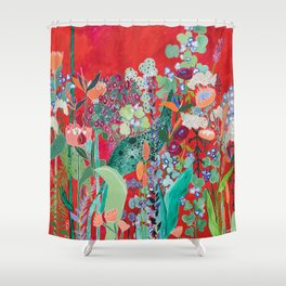 Floral Jungle on Red with Proteas, Eucalyptus and Birds of Paradise Shower Curtain