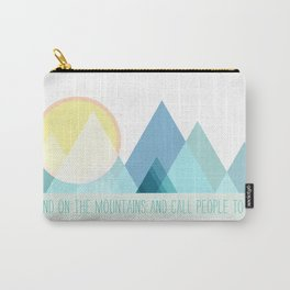 Geometric Color Block Mountains (Blues) Carry-All Pouch