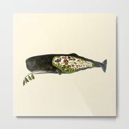 Botanical Whale Metal Print