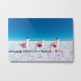 Llamas on the Bolivia Salt Flats Metal Print