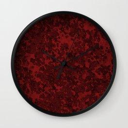 Maroon Red Hybrid Camo Pattern Wall Clock