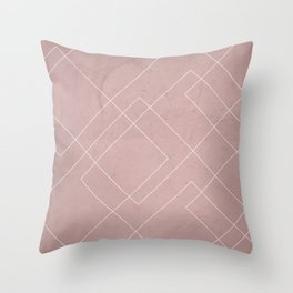 Overlapping Diamond Lines on Shell Pink  Throw Pillow