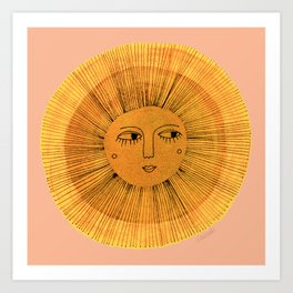 Sun Drawing Gold and Pink Art Print