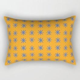 Modern Hand-drawn Minimalist Abstract Stars / Snowflakes Pattern in Bright Bold Tangerine Orange and Cobalt Blue Rectangular Pillow