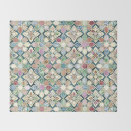 Muted Moroccan Mosaic Tiles Throw Blanket