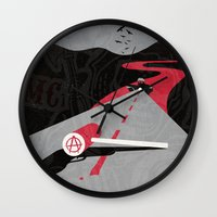 sons of anarchy Wall Clocks featuring Sons Of Anarchy Print by Take Heed