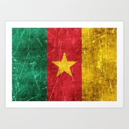 Vintage Aged and Scratched Cameroon Flag Art Print