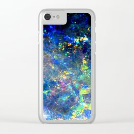 Galaxy space opal iridescent holographic druse crystal quartz agate gemstone geode mineral photo Clear iPhone Case