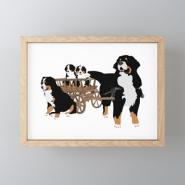 Family of Bernese Mountain Dogs with Wooden Wagon Framed Mini Art Print