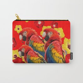 TROPICAL BLUE MACAWS & RED YELLOW HIBISCUS RED ART Carry-All Pouch
