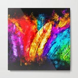 colorful bird feathers watercolor splatters Metal Print