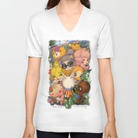 animal crossing V-neck T-shirts featuring Animal Crossing Newest Leaf by Haunted Elevator