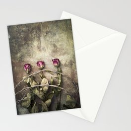 Three dried roses and barbed wire Stationery Cards