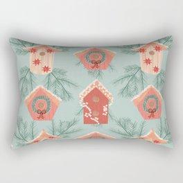 Holiday Birdhouse Pattern Rectangular Pillow
