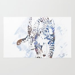 Digital Painting of Leopard Portrait Rug