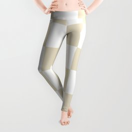 Large Checkered - White and Pearl Brown Leggings