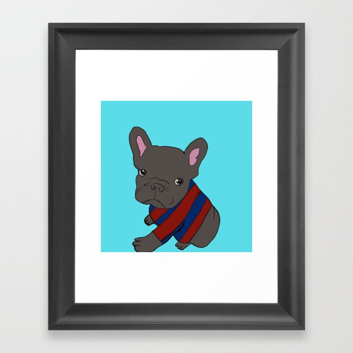 French Bull Dog Puppy in a Sweater Framed Art Print