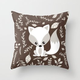 FOX AND LEAVES Throw Pillow