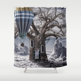 Home tree up in the clouds Shower Curtain