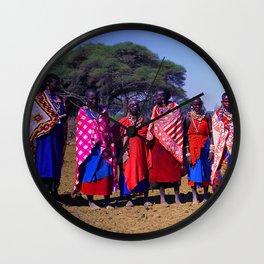 Warm Welcome to a Massai Village - Kenya, Africa Wall Clock
