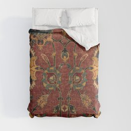 Flowery Boho Rug III // 17th Century Distressed Colorful Red Navy Blue Burlap Tan Ornate Accent Patt Comforters