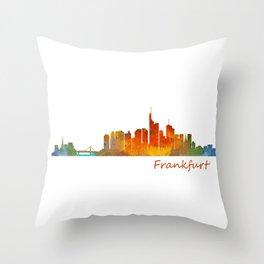 Frankfurt am Main, City Skyline, Citiscae art watercolor V1 Throw Pillow