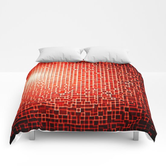 Red Space Pixels Comforters