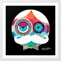 psychadelic Art Prints featuring Mr. Mustache Man Psychadelic by Gabriel J Galvan