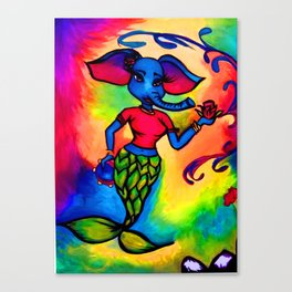 Beautiful Blue Elephant Mermaid with Red Rose and Tambourine Canvas Print