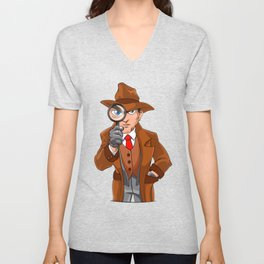 detective looking through magnifying glass Unisex V-Neck