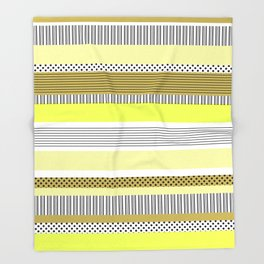 Yellow Mixed Pattern Color blocking Striped Throw Blanket