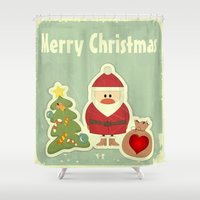 merry christmas Shower Curtains featuring Merry Christmas by Cs025