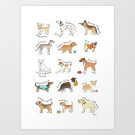 Breeds of Dog Art Print