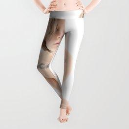 9362-KMA Brown Eyed Girl on Mirror Fine Art Nude High Key Skin Tattoo Leggings