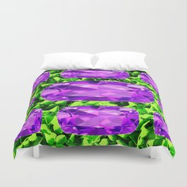 PURPLE AMETHYST FEBRUARY BIRTHSTONE GREEN ART Duvet Cover