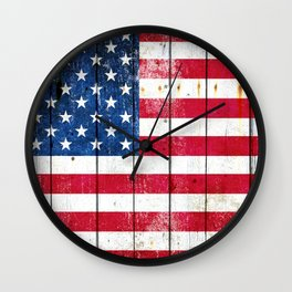 Distressed American Flag On Wood Planks - Horizontal Wall Clock
