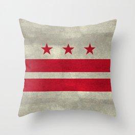 Washington D.C flag with worn stone marbled patina Throw Pillow