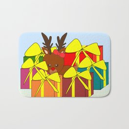 Cute reindeer hiding behind Christmas gifts Bath Mat