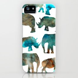 watercolor Rhino Elephant iPhone Case
