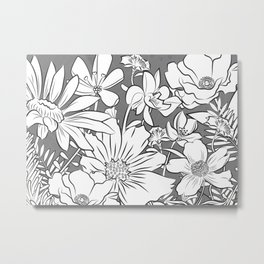 Flower Garden - black and white Metal Print