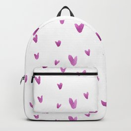 Pink hand painted watercolor romantic hearts pattern Backpack