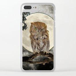Rustic Adorable Owl Moon Bird  A272 Clear iPhone Case