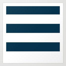 Navy Ocean Cabana Stripes Art Print