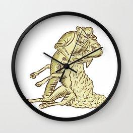 Farmworker Shearing Sheep Etching Wall Clock