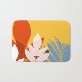 Leaves silhouette in orange and red Bath Mat